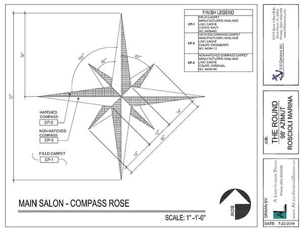 Custom Carpet Compass Rose Drawing